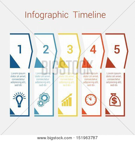 Timeline Infographic colored arrows from lines. Area chart Business Infographic template with text areas for five position Eps file is layered and fully organised objects are grouped
