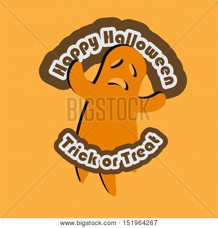 happy halloween and trick or treat text with ghost halloween holiday vector illustration