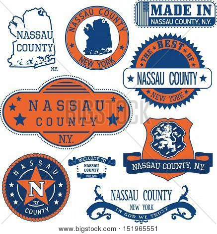 Nassau County, New York. Set Of Stamps And Signs.