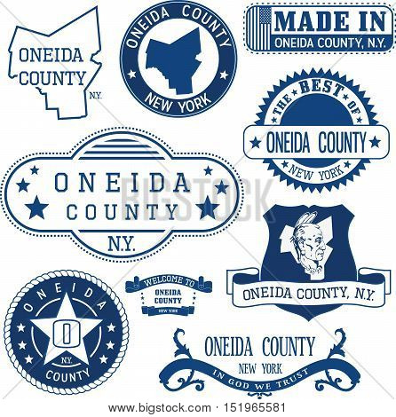 Oneida County, New York. Set Of Stamps And Signs.