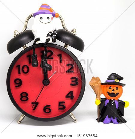 Count down clock Halloween ghost toy isolated