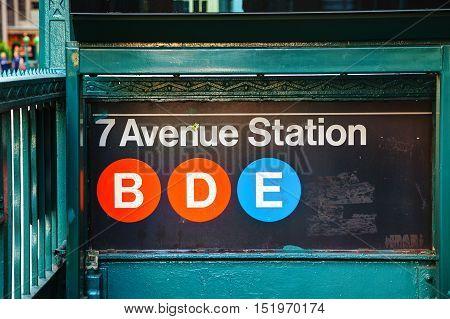 NEW YORK CITY - SEPTEMBER 5: 7th Avenue subway sign on September 5 2015 in New York City.