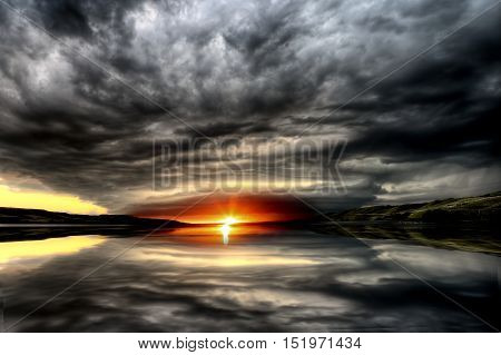 Storm Clouds Lake Sunset