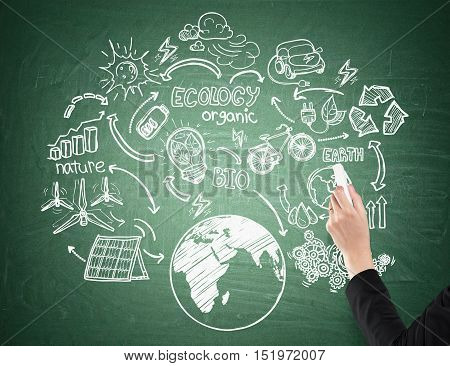 Close up of man's hand drawing an ecology sketch on green blackboard. Concept of loving your planet and being eco friendly
