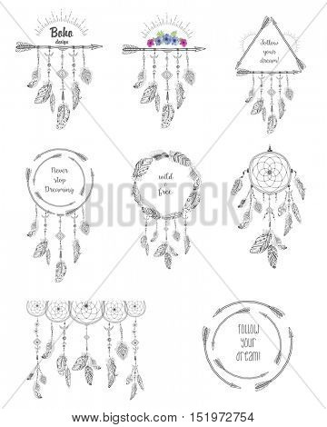 Boho Style Frames and Decorations. Set of Fashion Ethnic Designs with motivate Slogan for T-shirt, Tattoo and Card.