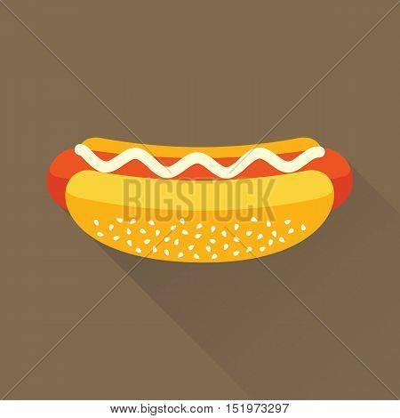 Delicious hotdog with mayonnaise. Isolated flat icon. Fast food symbol for poster, menus, brochure and web. Vector eps8 illustration.