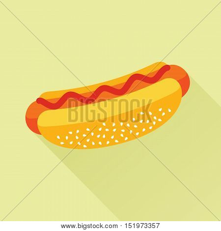 Delicious hotdog with ketchup. Isolated flat icon. Fast food symbol for poster, menus, brochure and web. Vector eps8 illustration.