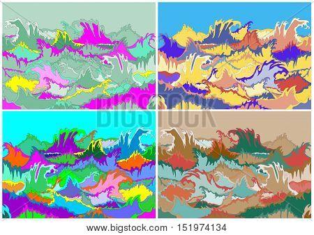 set of four multicolor illustration of storm waves