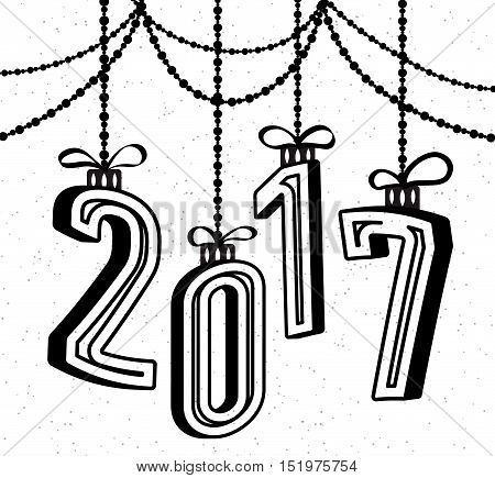 Happy New Year 2017 celebration background with 3d text effect and garland. Xmas 3d typography. Vector illustration in retro flat style isolated on white background