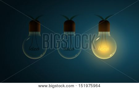 Vector illustration of old light bulbs. Idea word on filament. Different Idea concept vector illustration.