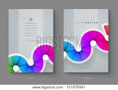 Vector annual report, brochure, flyer or booklet cover design template. Modern corporation simple and colorful layout design.
