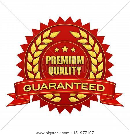 Premium quality guaranteed red and gold label isolated on white , 3d illustration