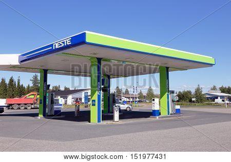 Tornio, Finland - July 20. 2016: Neste unmanned gasoline service station