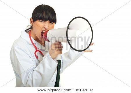 Nervous Doctor Woman Shout Megaphone