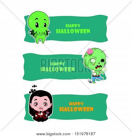 Cute Halloween Monster Banners - Cthulhu, Zombie, Vampire