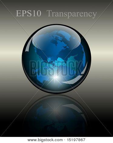 3d crystal globe. World map inside. Vector illustration