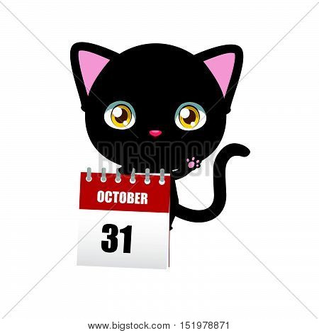 Cute black cat holding a calendar depicting Halloween date