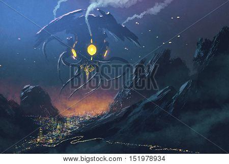 sci-fi scene of Alien ship invading night city, illustration painting