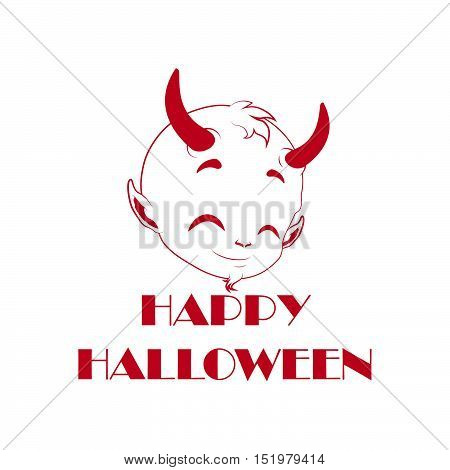 Cute Little Red Devil Decal - Halloween Decoration