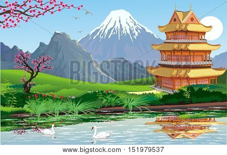 Landscape - Chinese Palace on the lake. Swans on the lake. Cherry blossoms. Beautiful mountain range on the horizon. Vector illustration