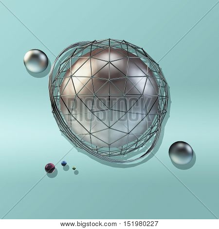 large steel sphere with a glossy color reflections in the iron lattice and small glass spheres on a blue gradient background of crumpled paper . Abstract background. 3d illustration