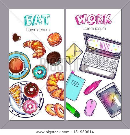 Two vertical isolated colored coworking space banner set eat and work descriptions vector illustration