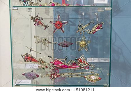 KLIN RUSSIA - JANUARY 16 2016: Old Soviet Christmas toys - airplanes and airships. 40-50 years of the 20th century. Museum of Christmas toys.