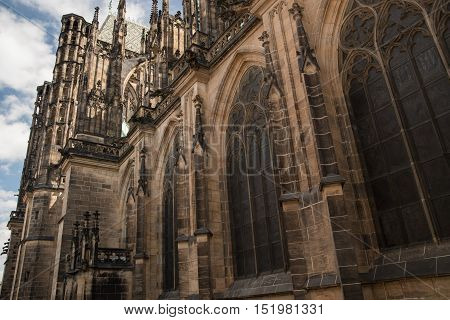 One of gargoyles of St. Vitus Cathedral Cathedral of Saints Vitus Wenceslaus and Adalbert in Prague Czech Republic.
