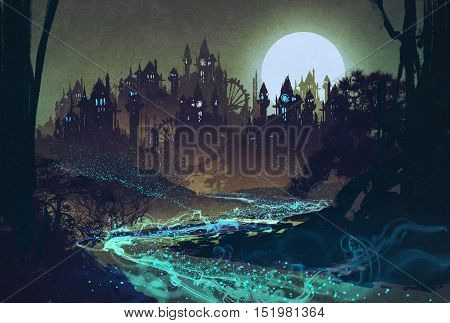 beautiful landscape with mysterious river, full moon over castles, illustration painting