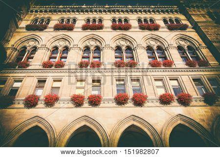 famous City Hall building Rathaus in Vienna Austria (vintage photo)