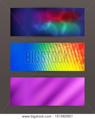 Set Horizontal Banner Headline Abstract Glow Lines11