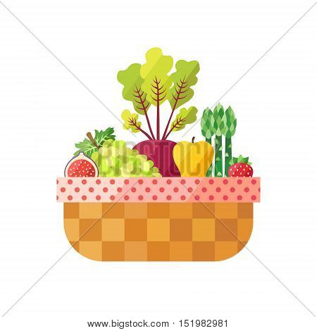 Vegetable and fruit basket isolated (fig grape beetroot apple asparagus strawberry) vector illustration. Modern flat design.