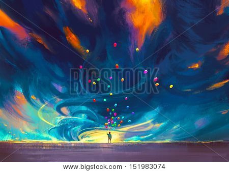 kid holding balloons standing in front of fantasy storm, illustration painting