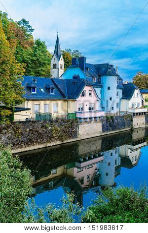 Luxembourg City, part of Grund and Alzette river