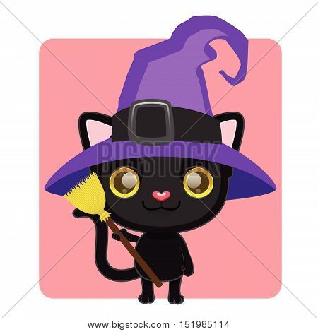 Cute Black Cat Posing As A Witch For Halloween