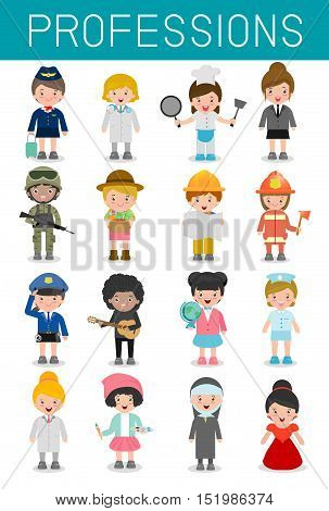 big set of cartoon vector characters of different professions isolated on white background, professions for kids, children profession, different people professions characters set, kids profession