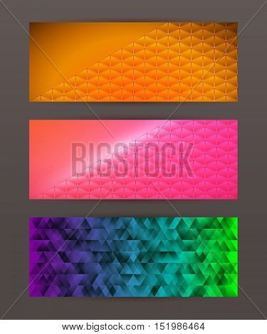 Set Horizontal Banner Headline Abstract Glow Lines22