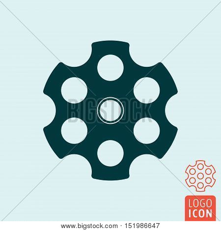 Revolver cylinder icon. Cylindrical rotating part of a revolver with six chambers. Vector illustration