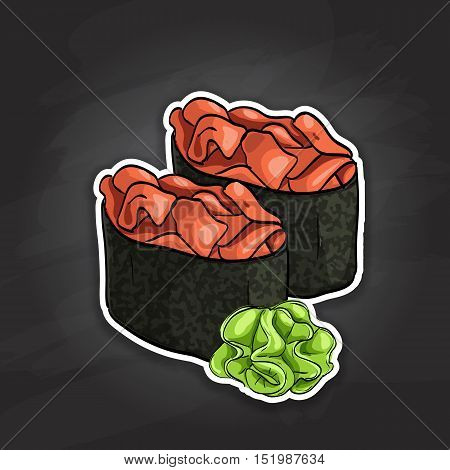 Vector sushi color sticker, Gunkan Spicy Sake. Vector illustration, EPS 10