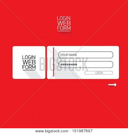 vector Login website template flat design. website login form