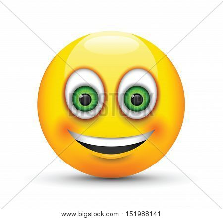 a smiling emoji big realistic green eyes