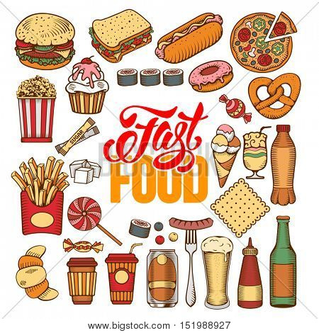 Fast Food elements set with calligraphic lettering Fast Food. Hand drawn doodle style. Isolated Vector illustration.