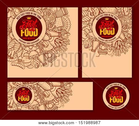 Fast Food Templates Set in Hand Drawn Doodle Style with Different Objects on Fast Food Theme. Vector stock Illustration.