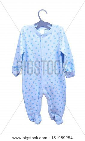 Baby goods hanging. Children's clothing body cosmonaut sliders pijama on a hanger isolated on white background.