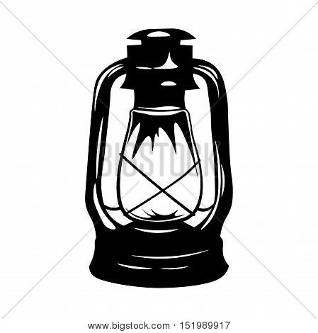 Vintage Kerosene Lantern. Antique Old Kerosene Lamp isolated on a white background. Monochromatic line art. Retro design. Vector illustration.