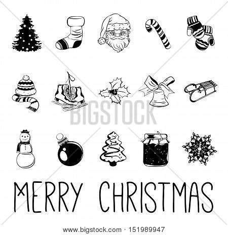 Merry Christmas Elements. Hat and Scarf, Christmas Sock, Santa Claus, Candy Cane, Winter Mittens, Ice Skates, a Branch of Mistletoe, Christmas bell, Mountain sled, Snowman, Christmas tree Toy, Gingerbread man, a snowflake