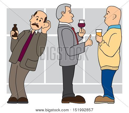 Man is leaning over and trying to listen in on a conversation at a cocktail party