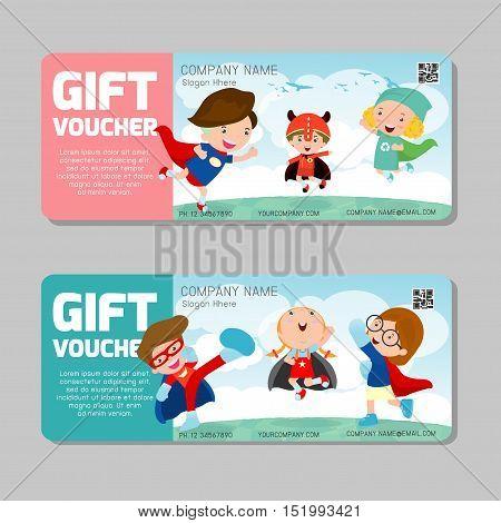 Gift voucher template and modern pattern. child concept. Voucher template with premium pattern, gift Voucher template with colorful pattern. bright concept. voucher superhero kids Vector illustration