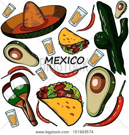 Hand drawn doodle Mexico set. Vector illustration. Sketchy mexican food icons. United Mexican States elements- Maracas, Sombrero, Viva Mexico, Aztec, Tequila and other