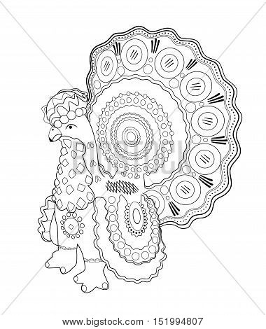 The symbol of the new year rooster. The picture for coloring.